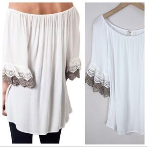 Umgee Boho Bell Sleeve Crochet Top Small